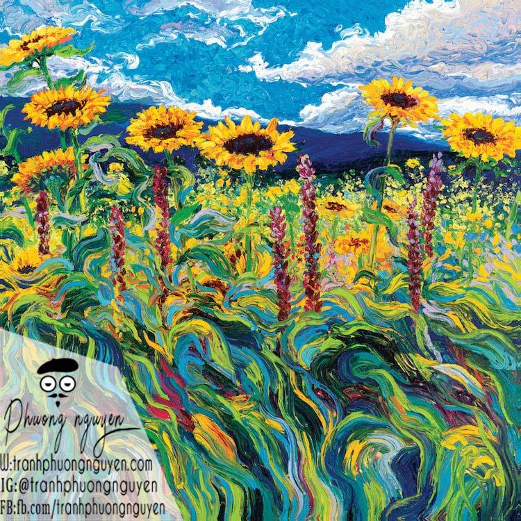 Tranh hoa cúc đón nắng mặt trời