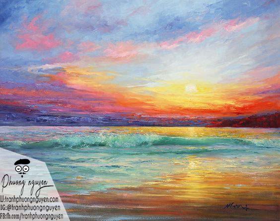 Tranh phong cảnh biển hoàng hôn