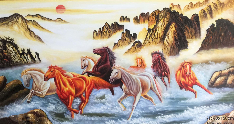Tranh ngựa má đáo thành công vượt thác