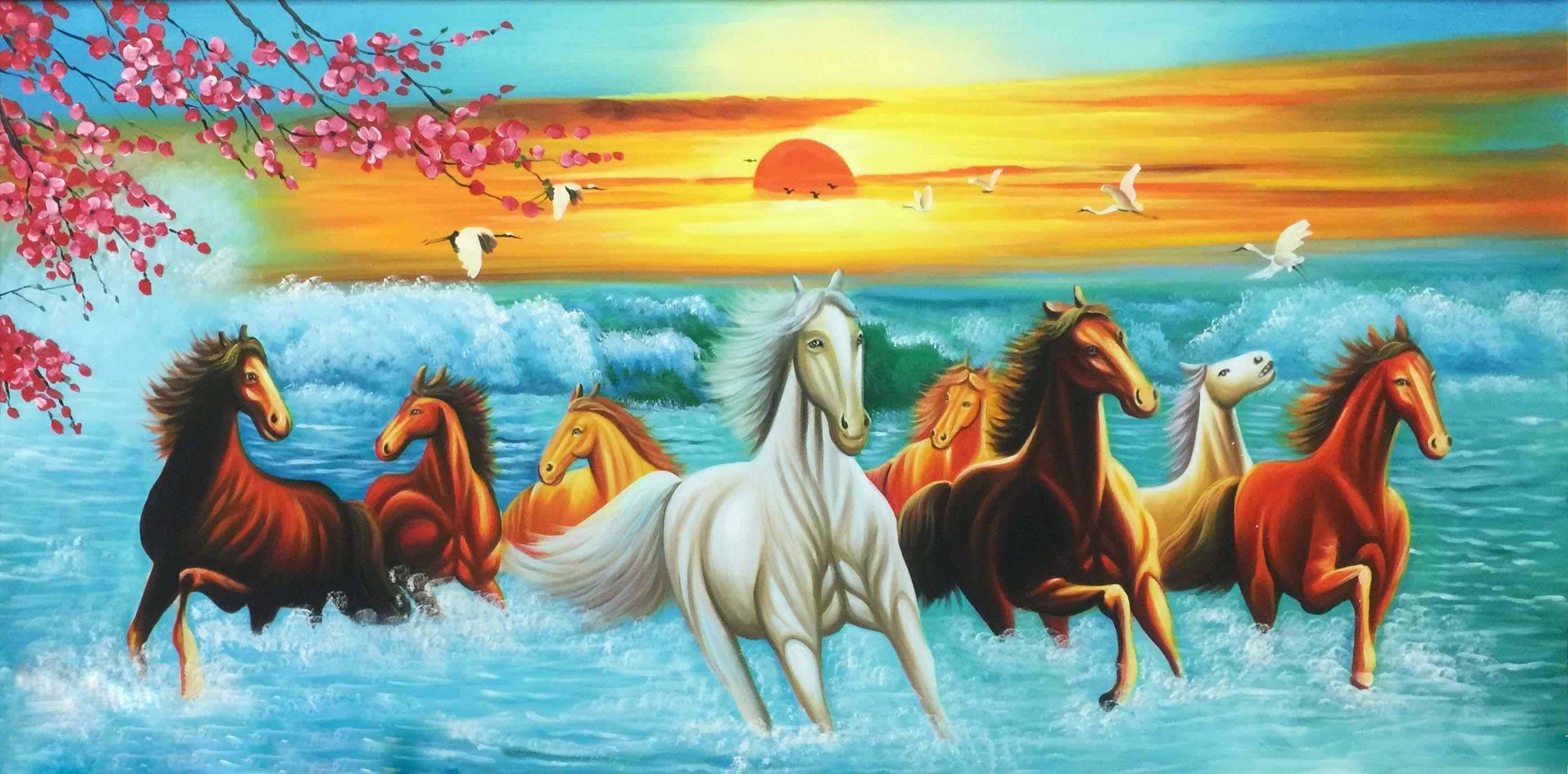 Tranh ngựa mã đáo thành công có vạc và hoa anh đào