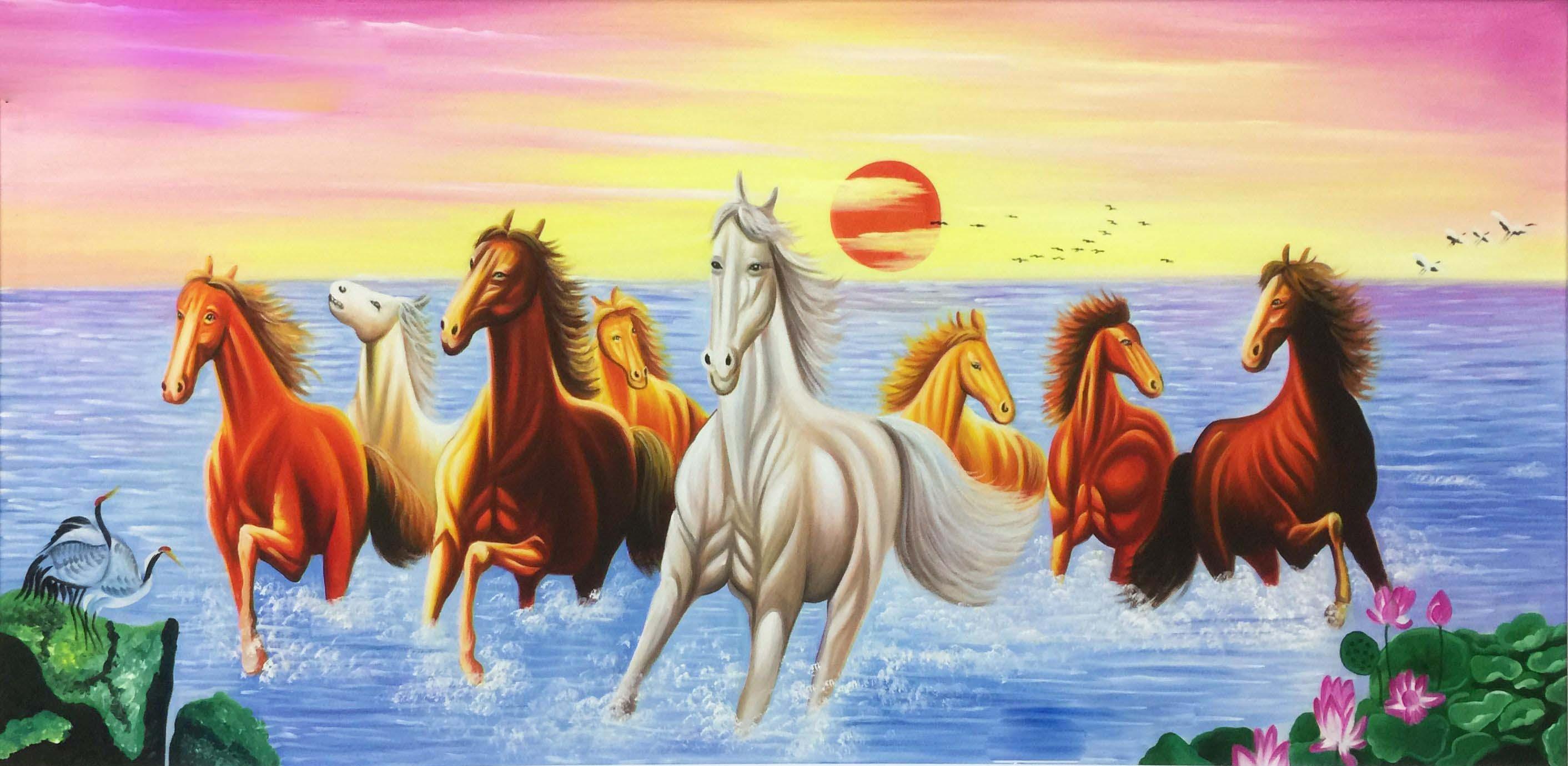 Tranh ngựa mã đáo thành công có hoa sen