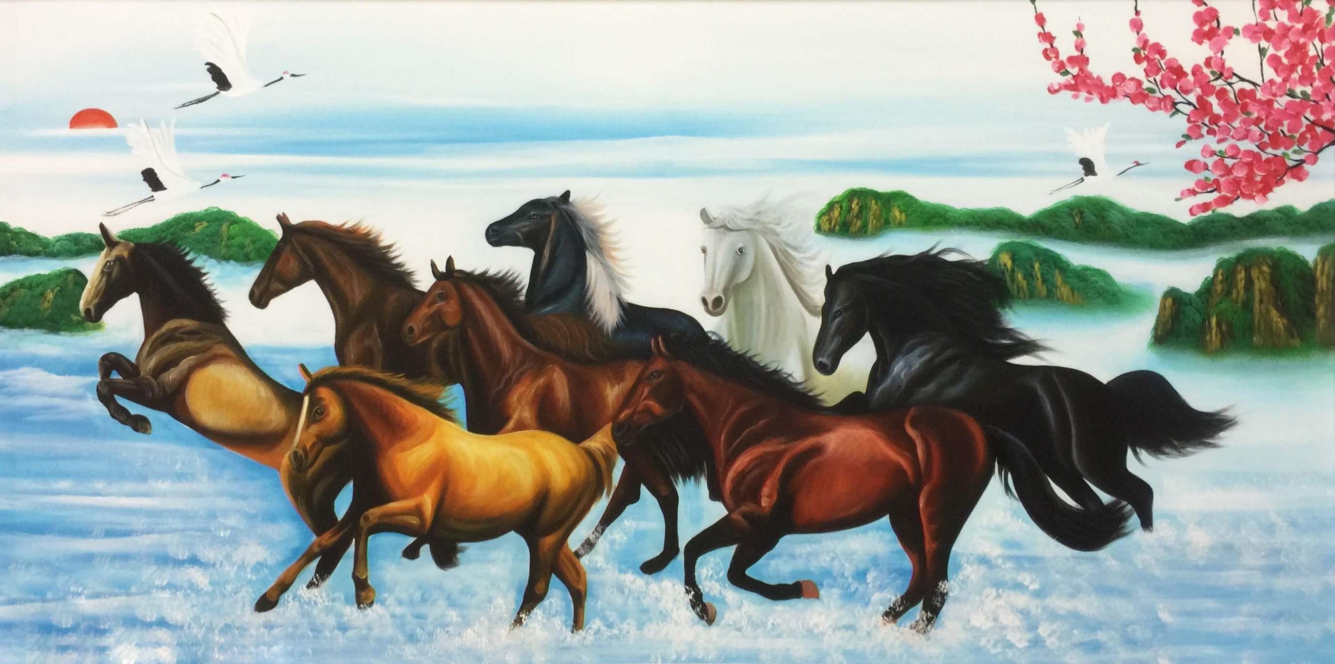 tranh sơn dầu ngựa hợp với người mệnh thủy
