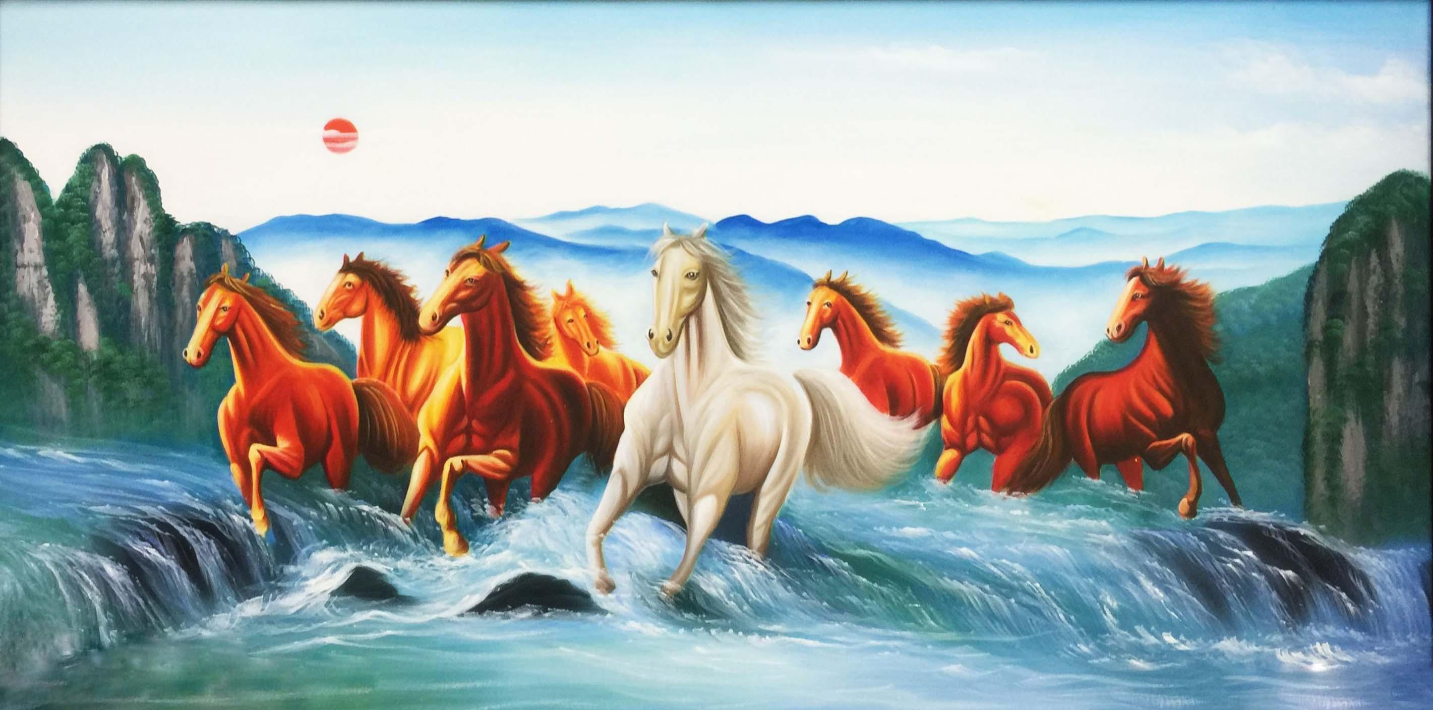 Tranh Ngựa Má Đáo Thành Công Chạy Trên Thác