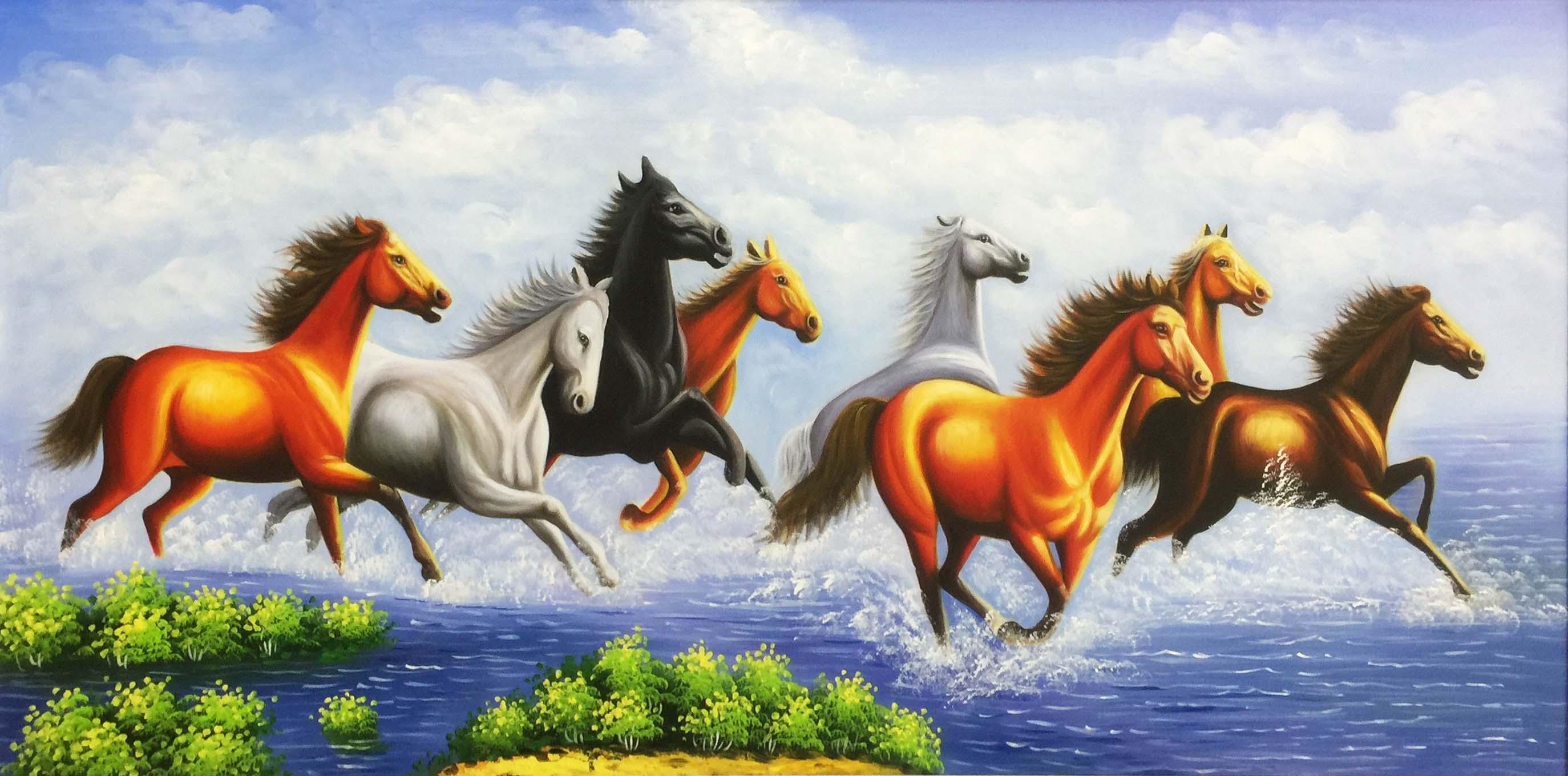 tranh ngựa mã đáo thành công chạy qua sông