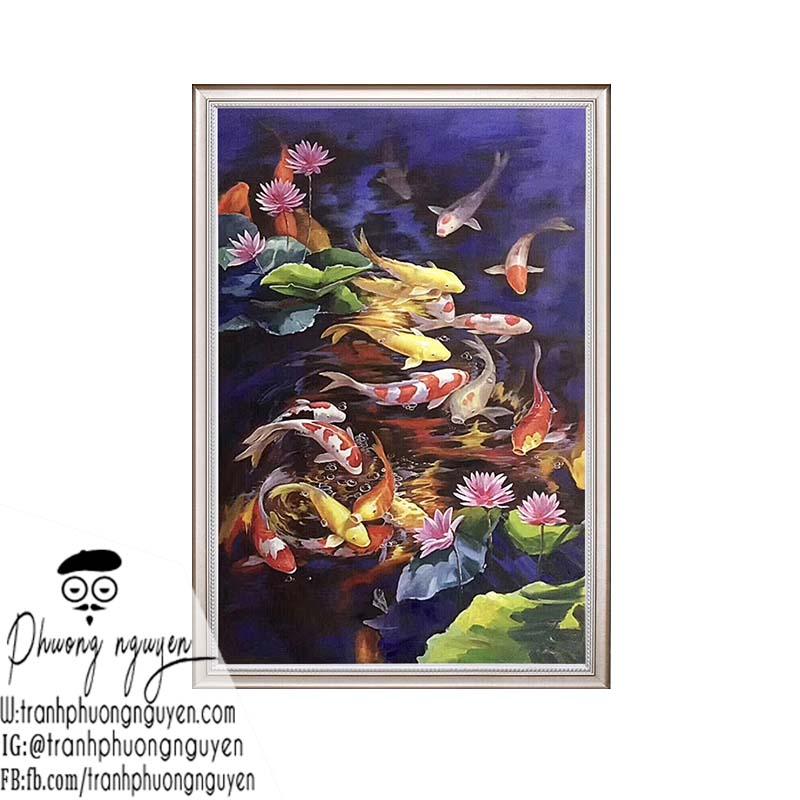 tranh sơn dầu cá chép bơi trong hoa sen