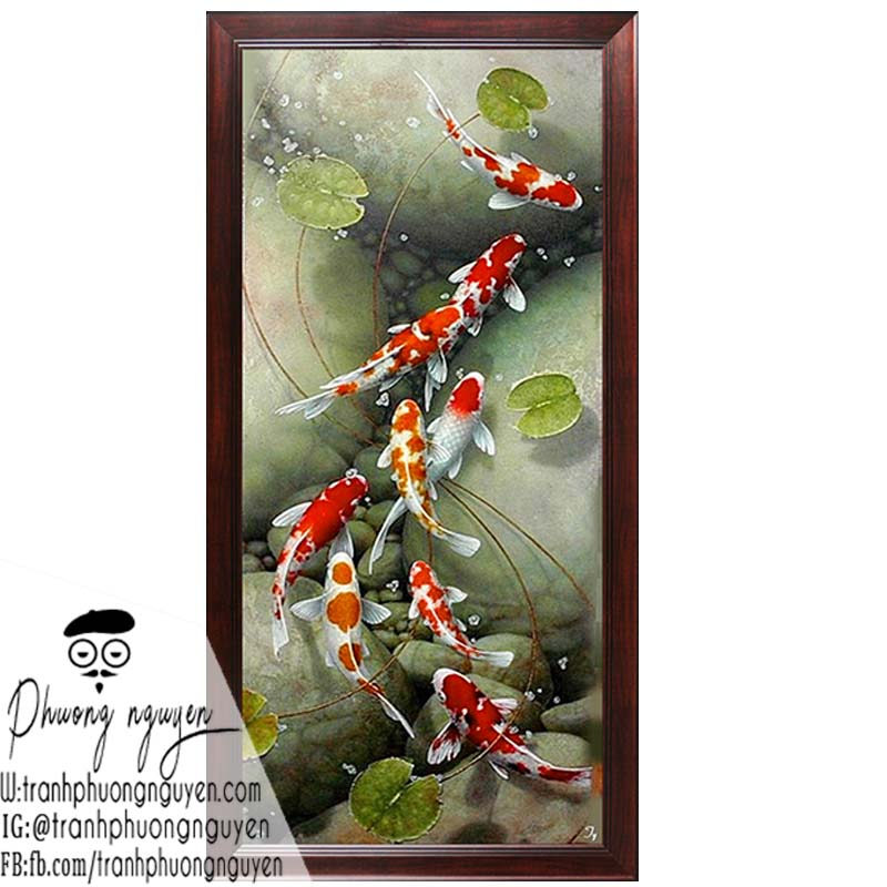 Tranh sơn dầu cá chép hoa sen trang trí