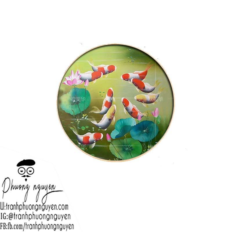 tranh sơn dầu cá chép khung tròn