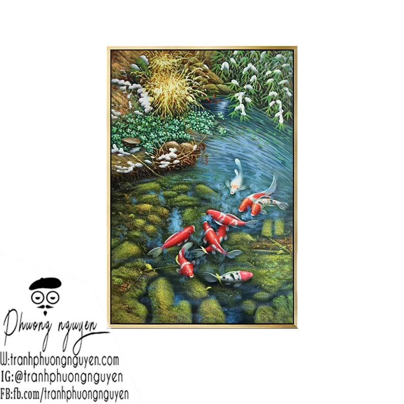 tranh sơn dầu phong cảnh cá chép bơi trong nước