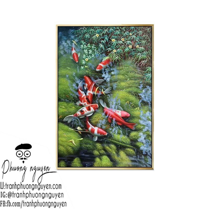 tranh sơn dầu cá chép tuổi Ngọ