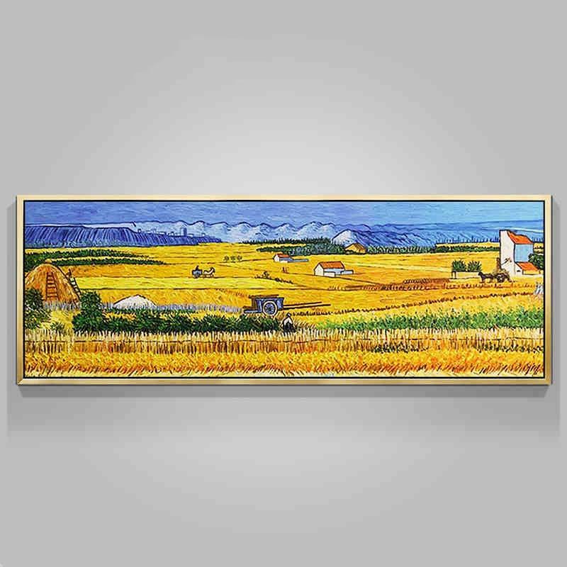 Tranh phong cảnh đồng quê cánh đồng vàng