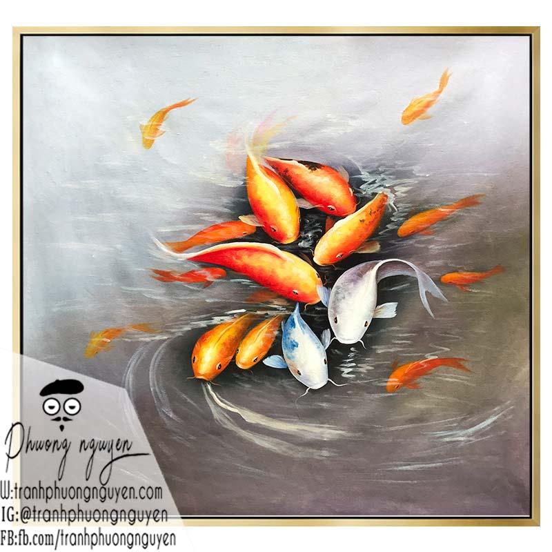 Tranh sơn dầu cá chép phong thủy