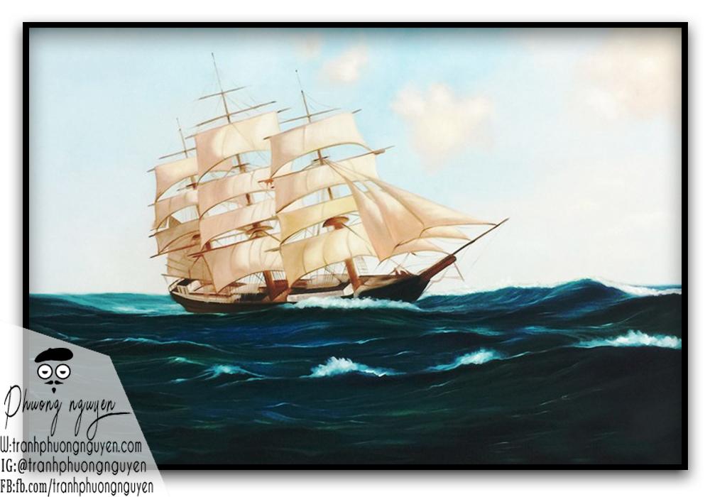 Tranh phát tài phong thủy thuận buồm
