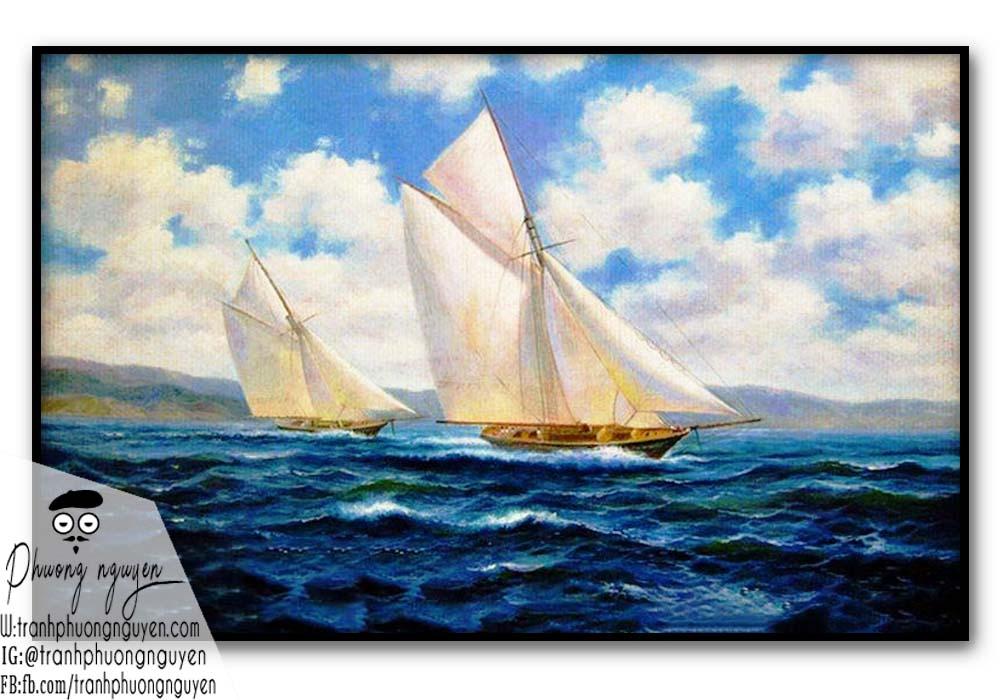 tranh thuận buồm xuôi gió phúc lộc tài phong thủy