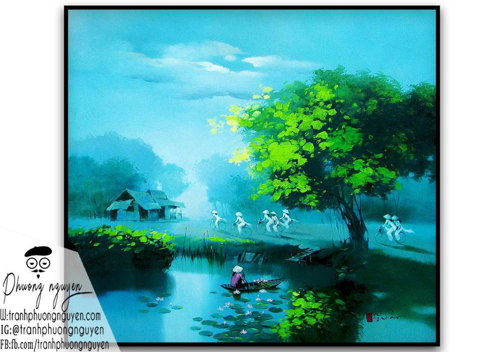 Vẽ tranh quê hương Việt Nam sáng sớm
