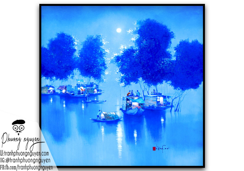 Cảnh đêm tối ở sông nước việt nam