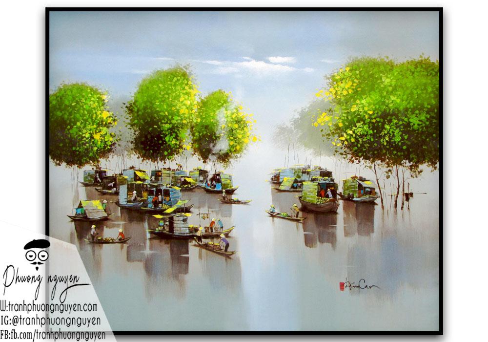 Cảnh chợ nổi quê hương việt nam trên sông