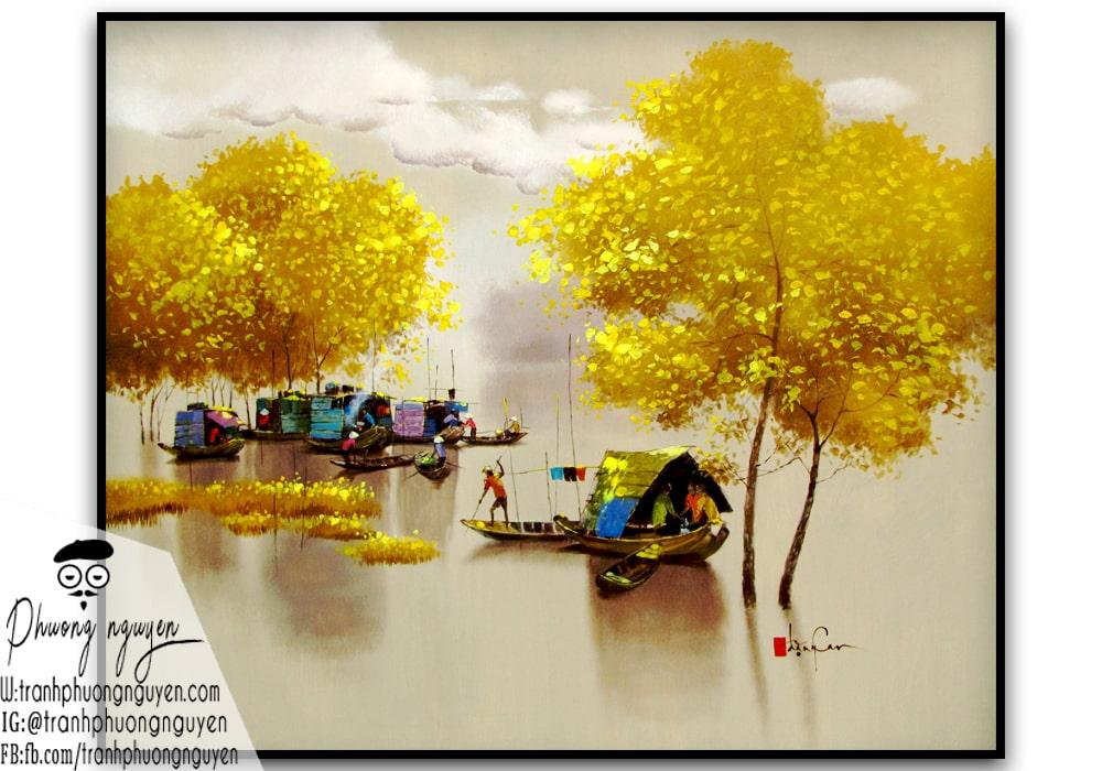 tranh phong cảnh làng quê xế chiều ánh vàng