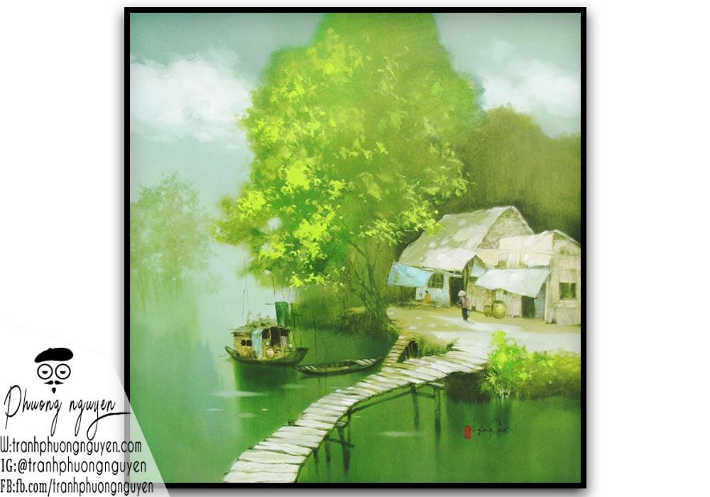 Cảnh ngôi nhà xưa ở nông thôn tông xanh lá