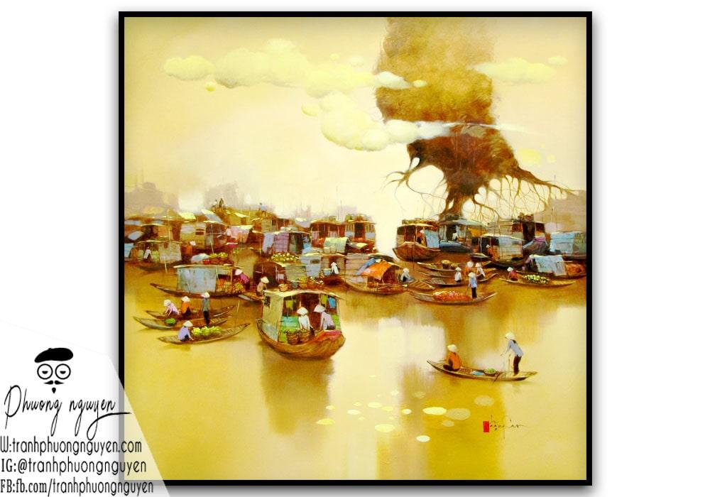 Tranh sơn dầu quê hương cảnh họp chợ sáng sớm