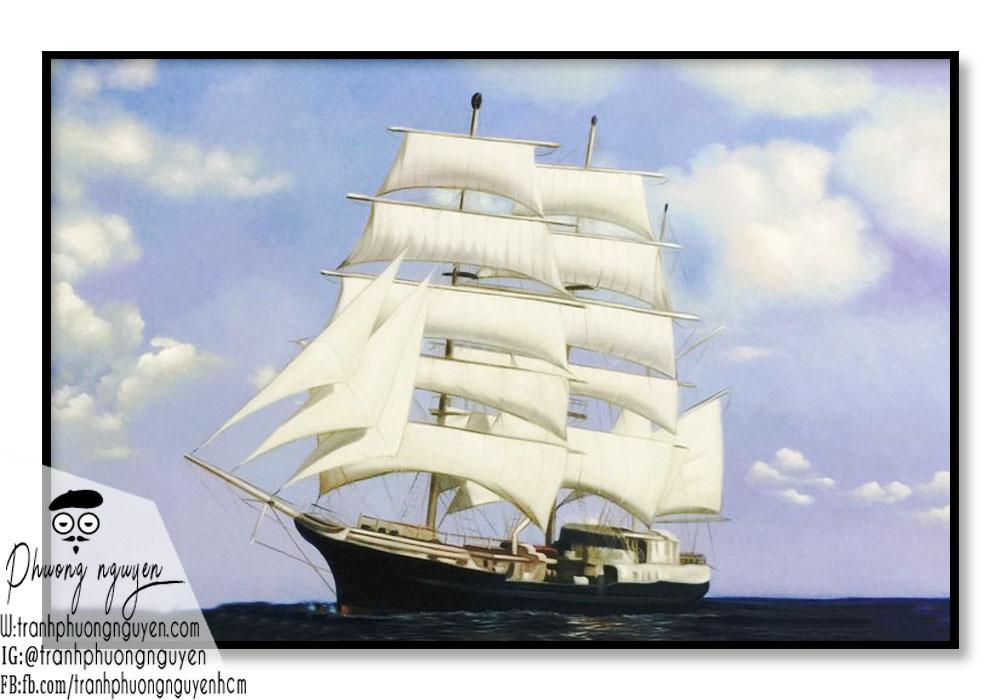 tranh phong thủy thuyền buồm trên biển cả