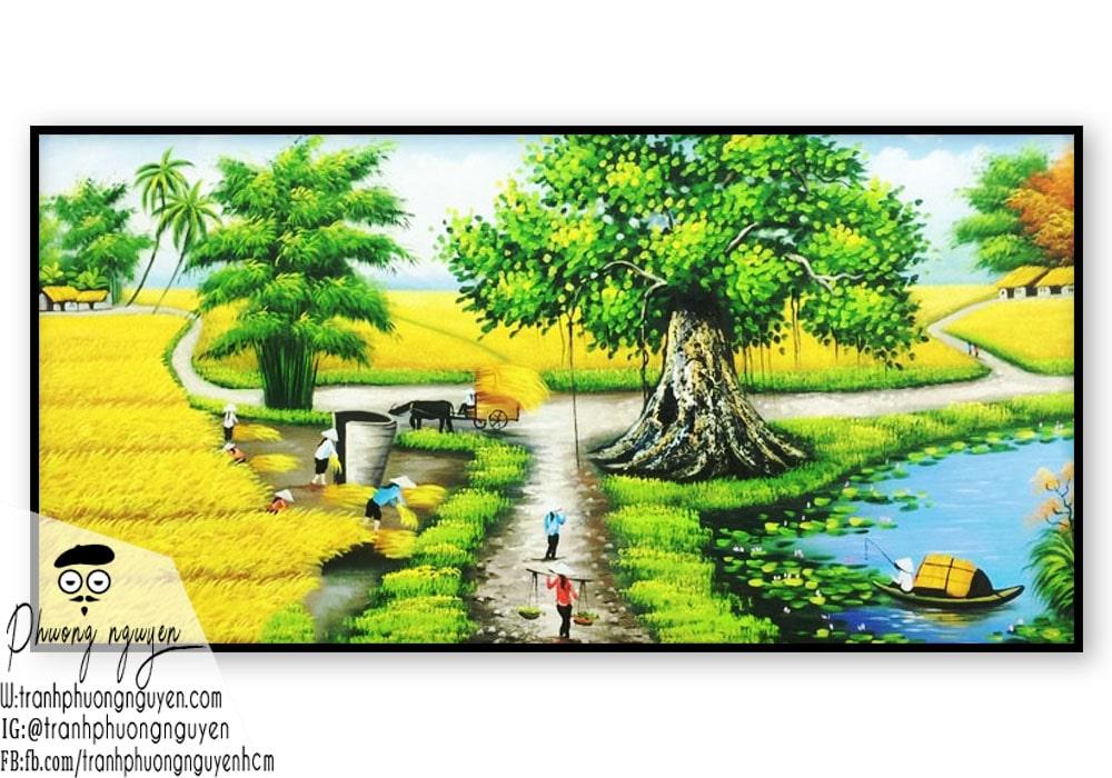 Tranh vẽ làng quê việt nam gốc đa đầu làng