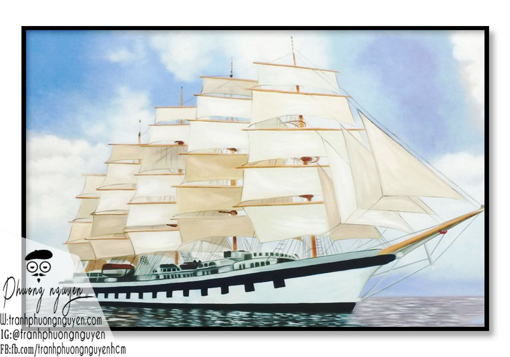 Tranh thuyền xuôi gió trên biển khơi