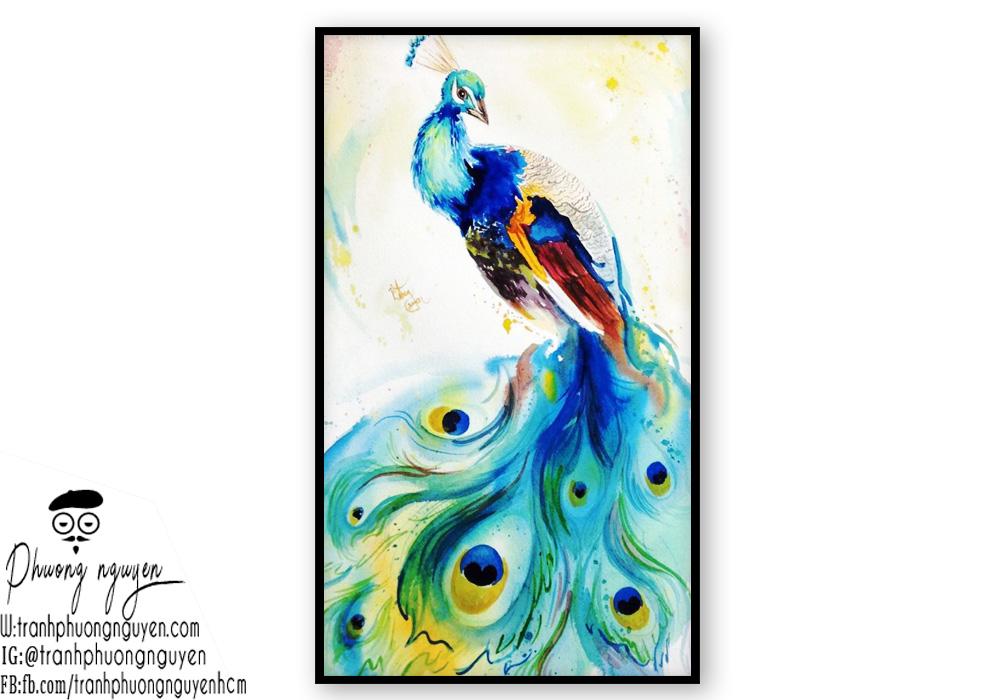 Tranh sơn dầu chim công đẹp nhất