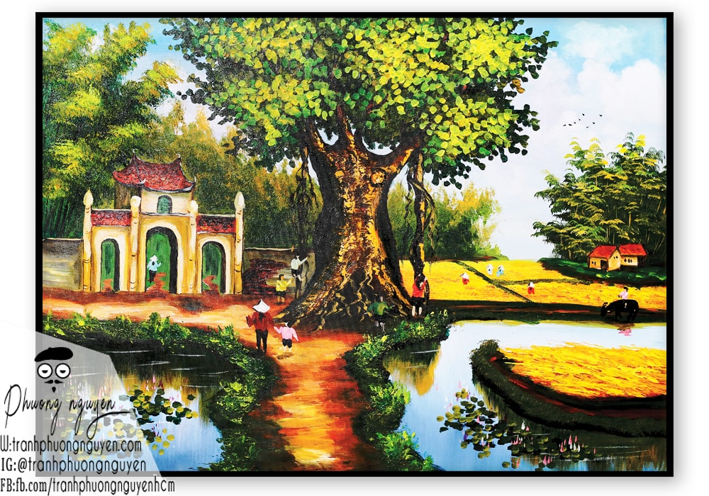 mua tranh sơn dầu làng quê việt nam - PN659 - Tranh Sơn Dầu