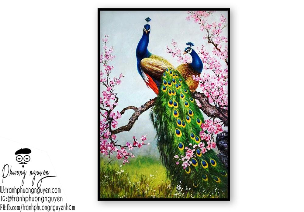Tranh chim công cùng hoa anh đáo