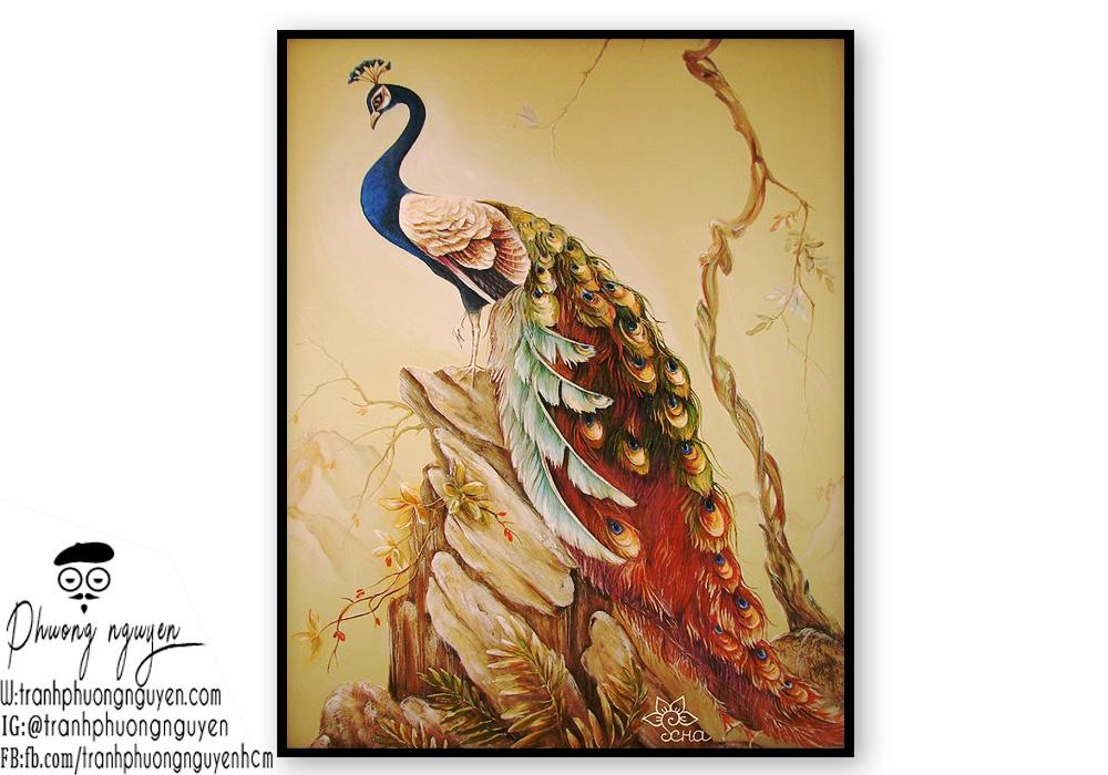 Tranh chim công phong thủy đẹp nhất