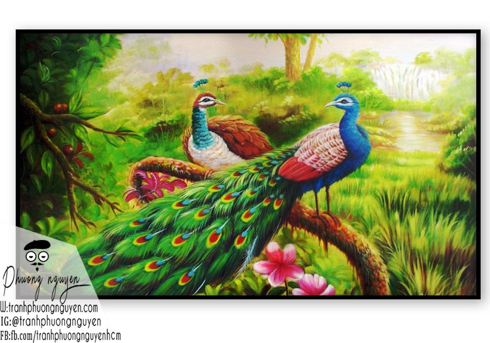 Tranh đôi chim công giữa rừng sơn dầu