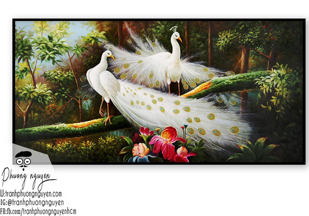 Tranh vẽ đôi chim công trắng trong rừng sâu
