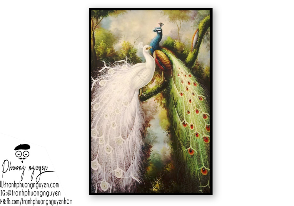 Tranh sơn dầu vẽ đoi chim công đẹp nhất