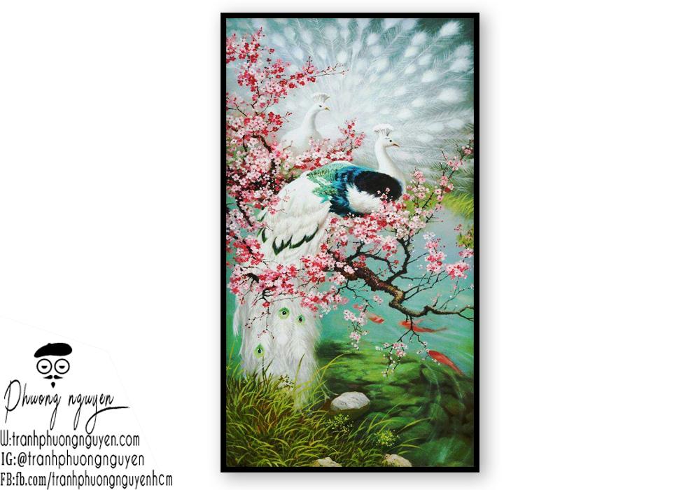 Tranh vẽ phong thủy đôi chim cùng cây hoa anh đào