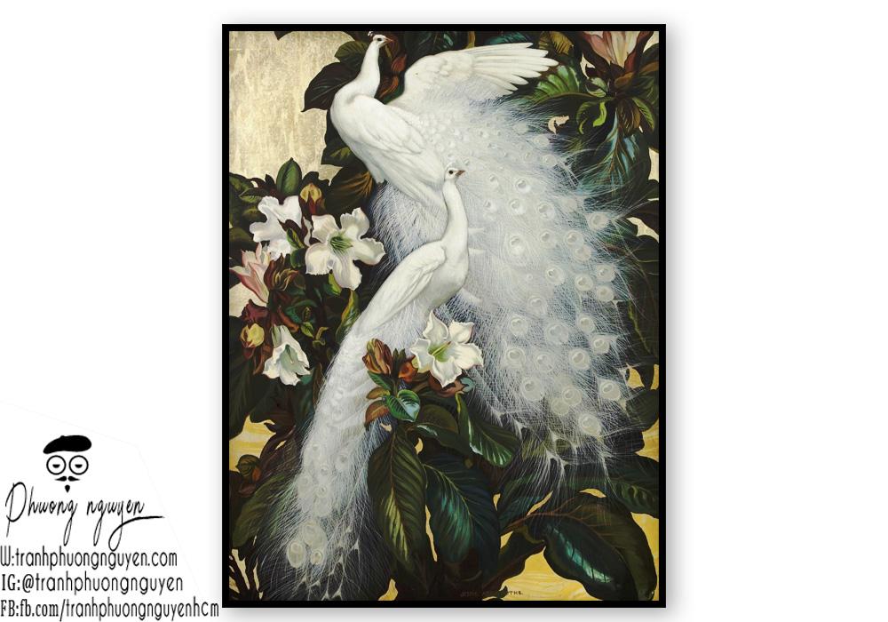 Tranh đôi chim trắng đẹp nhất