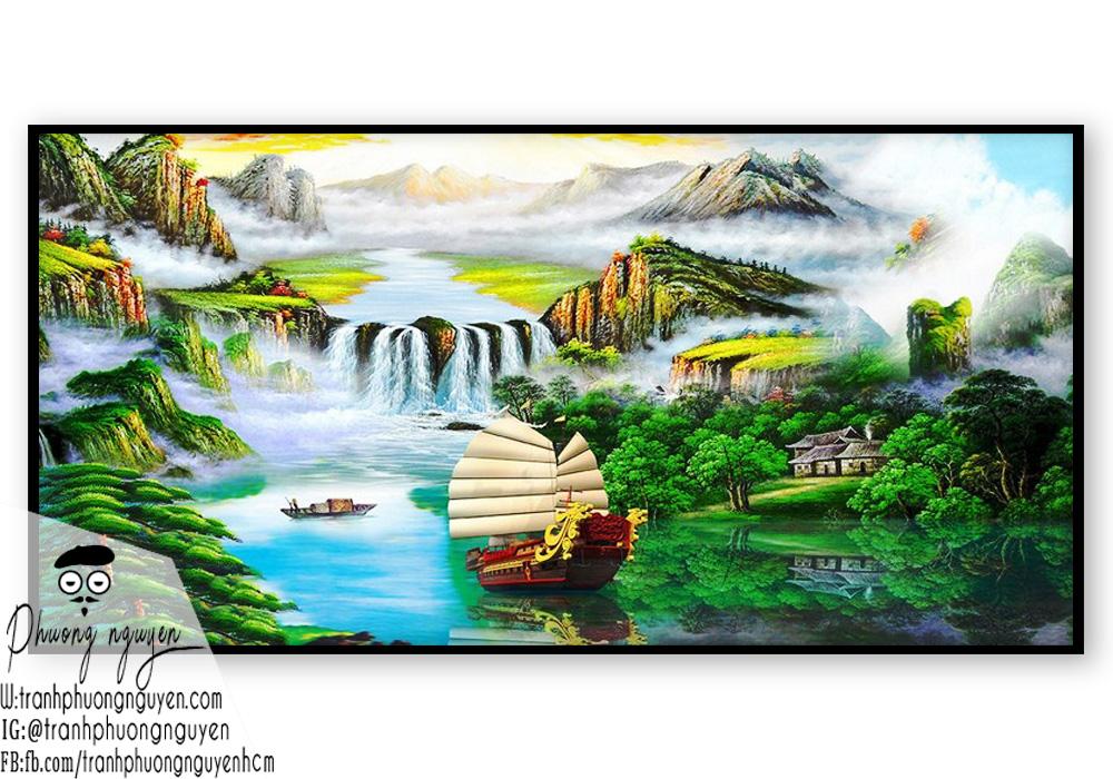 Tranh vẽ phong cảnh con thuyền to trên sông