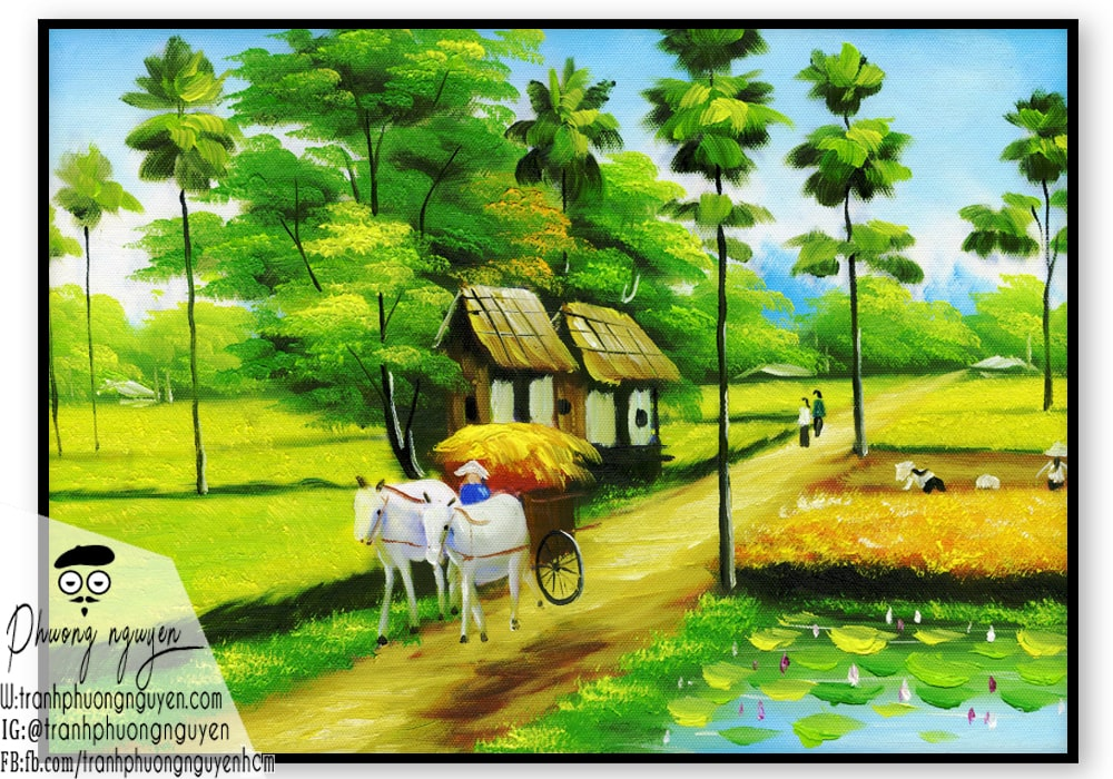 tranh làng quê việt nam đẹp nhất - PN668 - Tranh Sơn Dầu