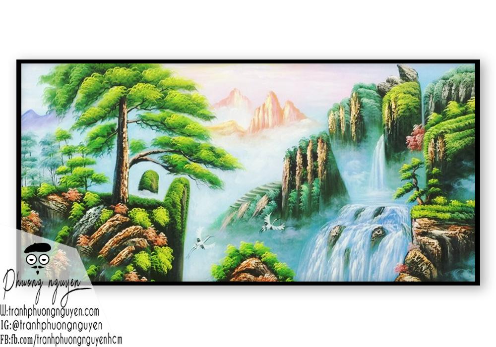 Tranh vẽ phong cảnh sơn thủy hữu tình và chim hạc