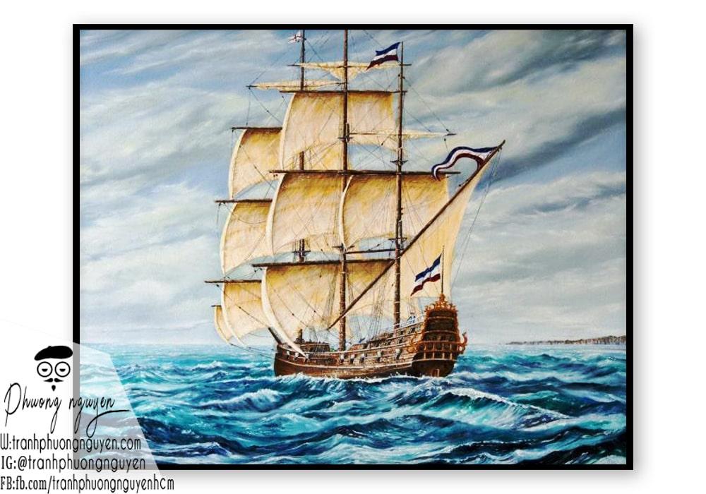 Tranh cảnh thuyền buồm đẹp phong thủy