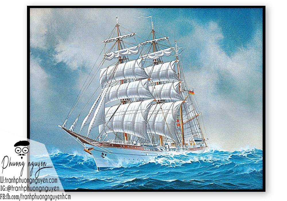 tranh thuận buồm xuôi gió thuyền buồm trắng đẹp
