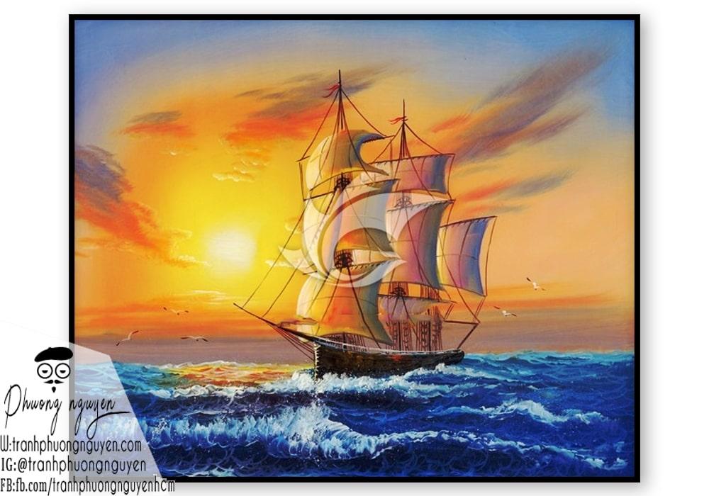 Tranh phong thủy thuyền buồm suôn sẻ may mắn