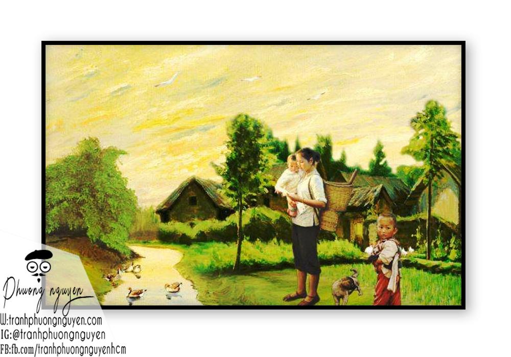 Tranh vẽ người mẹ vùng làng quê