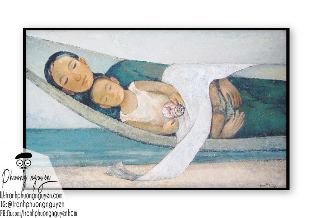 Tranh vẽ về người mẹ nằm trên võng