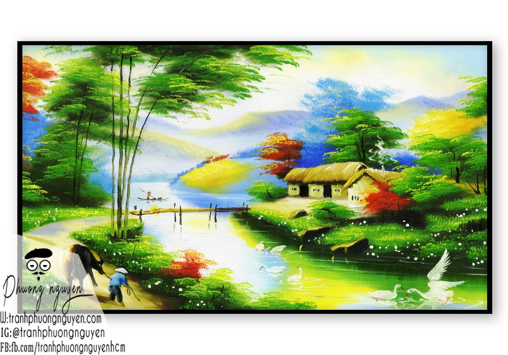 tranh vẽ làng quê việt nam đẹp nhất - PN720 - Tranh Sơn Dầu