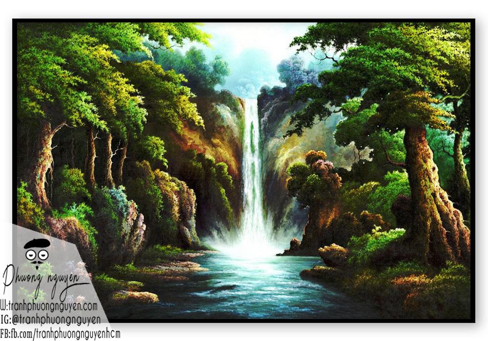 Tranh vẽ phong cảnh rừng và thác nước