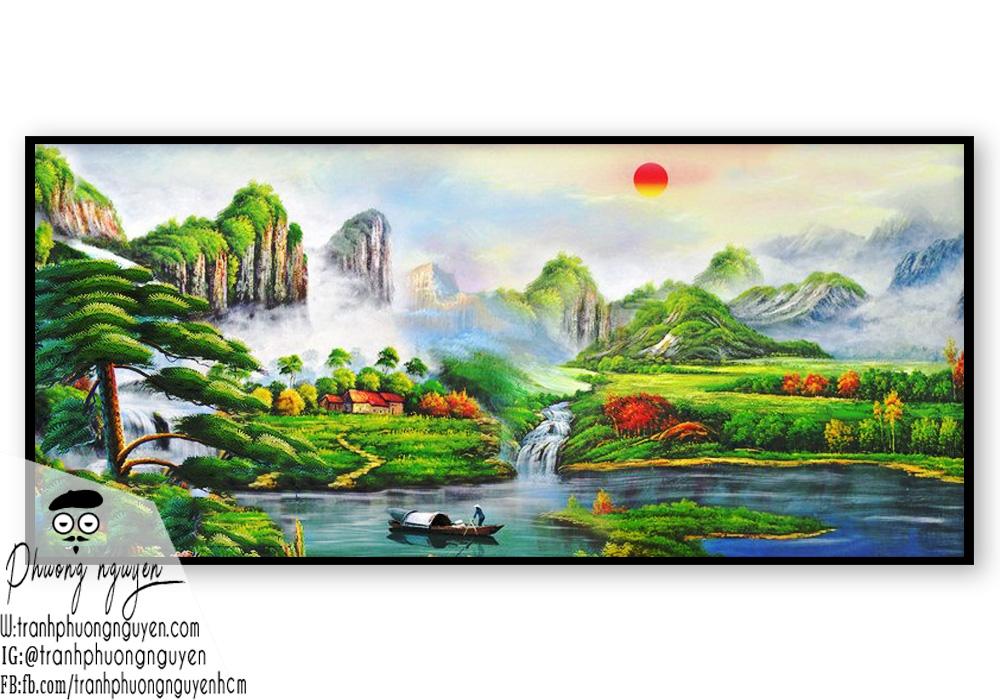 Tranh vẽ phong cảnh mây núi nước non hữu tình