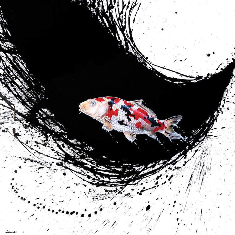 Tranh trừu tượng cá chép phong cách hiện đại