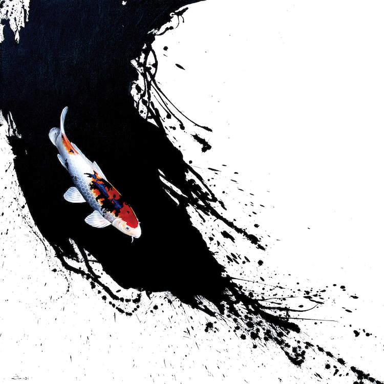 Tranh cá chép trừy tượng loại 4