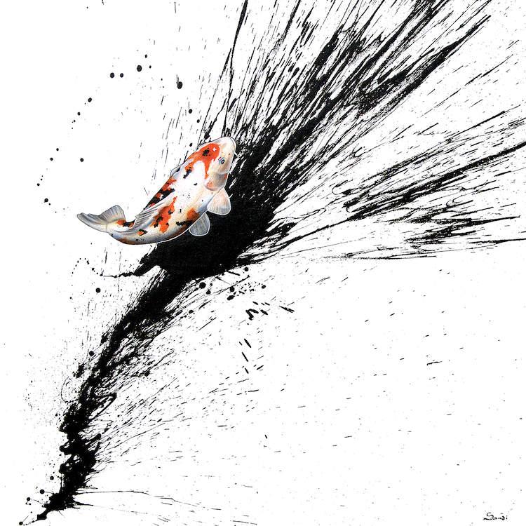 tranh trừu tượng cá chép loại 2