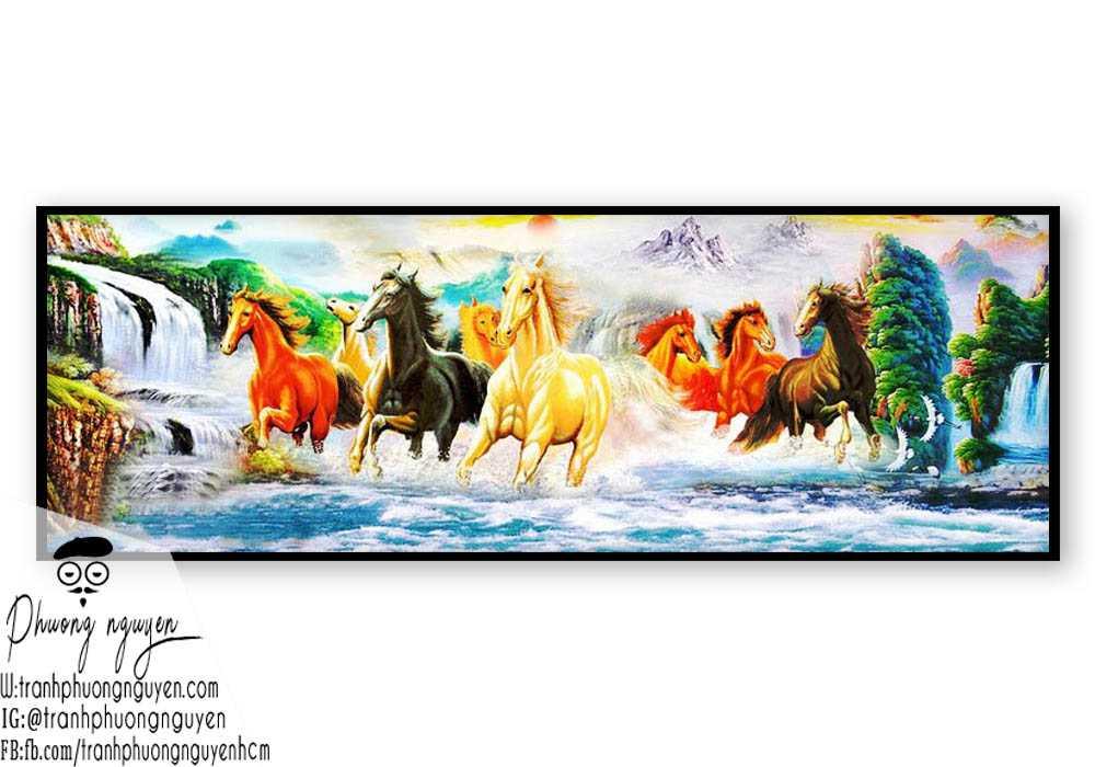 Tranh ngựa chạy trên thác nước hùng vĩ